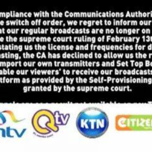 Kenya's three main TV stations have switched themselves off.