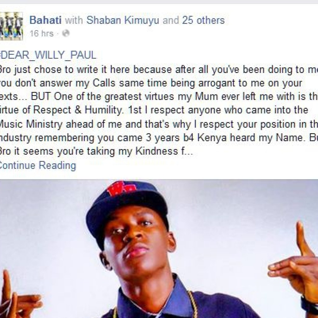 Bahati post against willy paul
