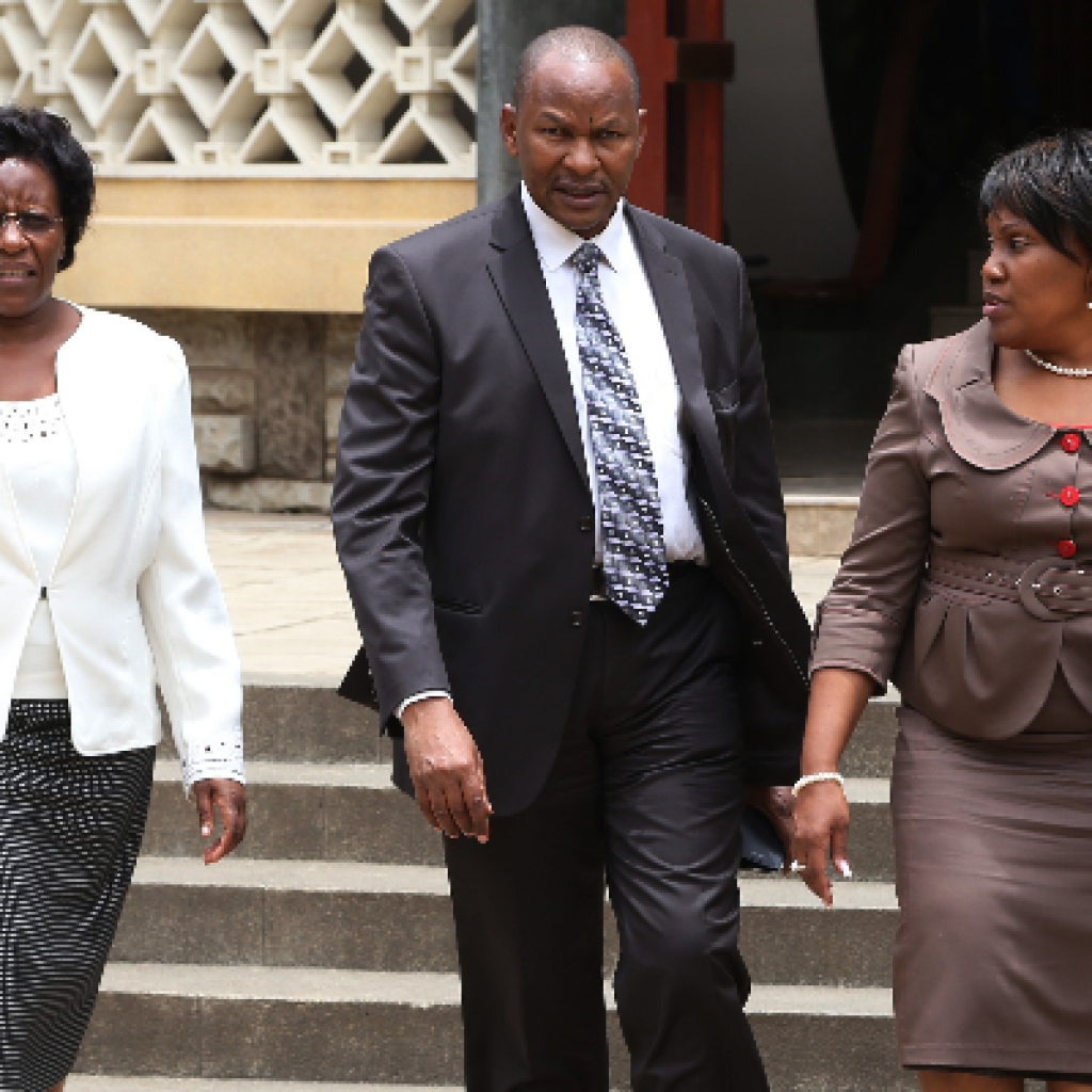 EACC Commissioner Jane Onsongo, chairman Mumo Matemu and vice chairman Irene Keino at a past event. Picture by Star Newspaper