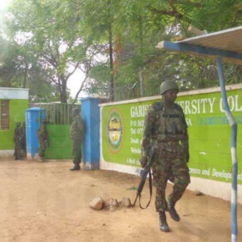 Policemen at the entrance of Garissa University College on April 2, 2015 after armed gunmen attacked the institution. PHOTO | ABDIMALIK HAJIR | NATION MEDIA GROUP