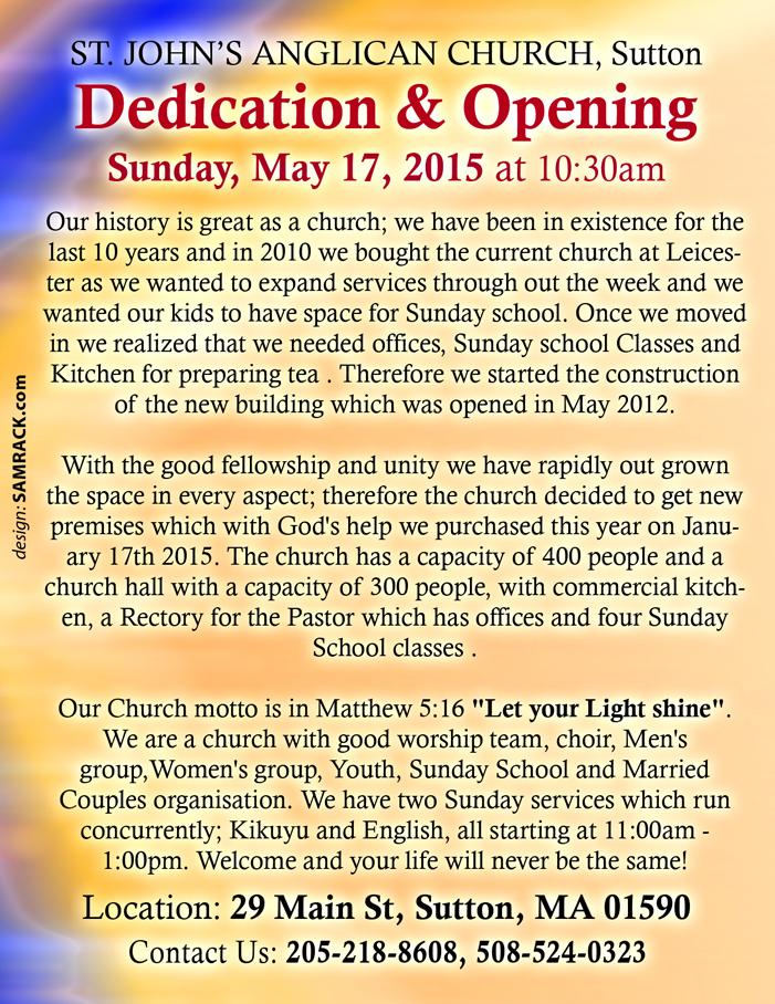 New Church Building Dedication - reverse