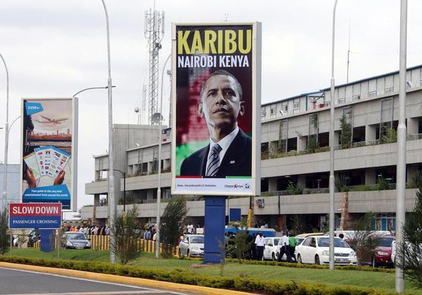 Billboard welcomes Obama at JKIA.