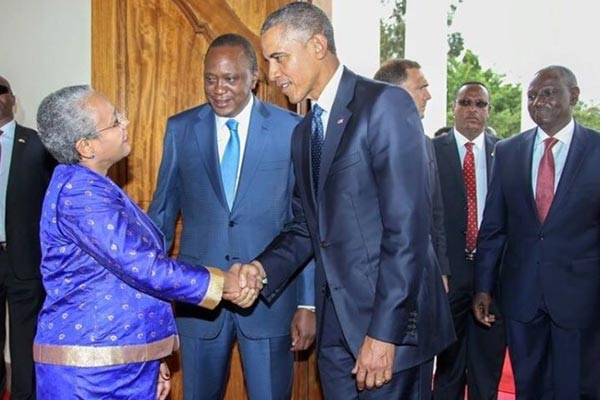 Obama meets First Lady Margaret, with Ruto following at the back