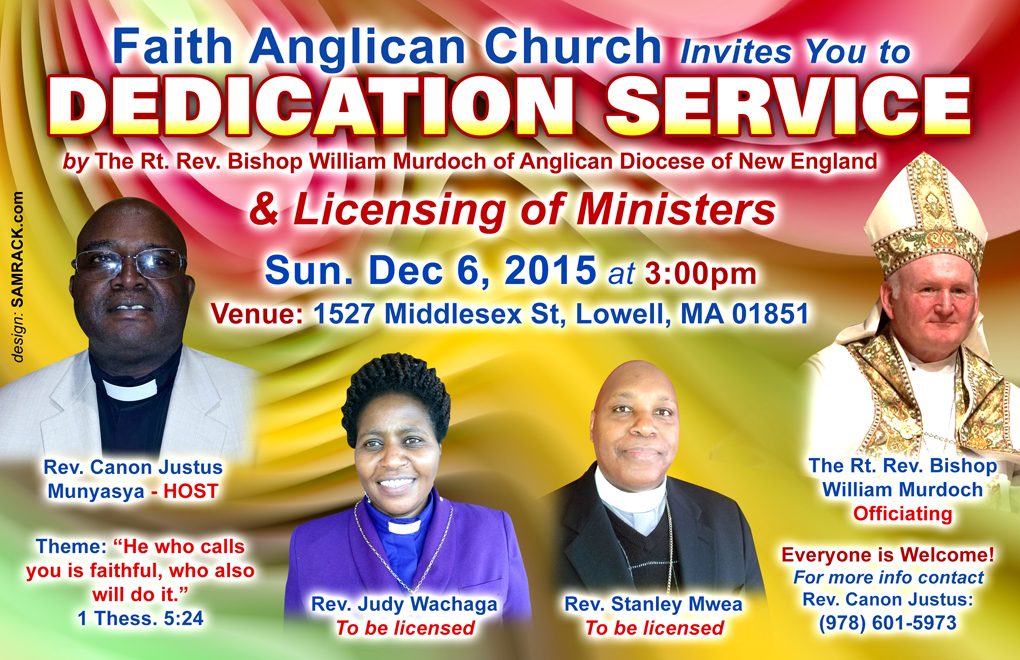 InvitationFaith Anglican ChurchDedication Service Licensing of