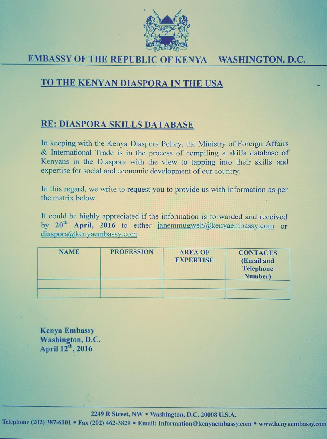 Kenya embassy us diaspora skills database samrack media for Consul database