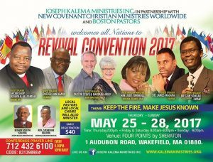 REVIVAL CONVENTION 2017 MAY 25-28,2017 JOSEPH KALEMA MINISTRIES INC