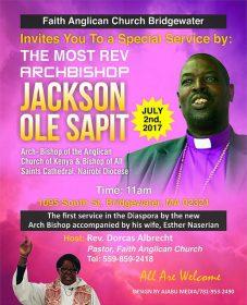 Sat.July 1st & Sun. 2nd July Faith Anglican Church Bridgewater:The Most Rev Archbishop Jackson Ole Sapit