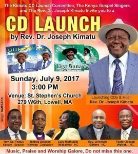 REV.DR.KIMATU 2 CD LAUNCH JULY 9 2017 @3PM ST STEPHENS CHURCH LOWELL,MASSACHUSETTS