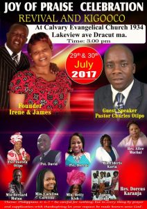Joy of Praise Celebration Revival & Jigooco July 29th & 30th  @ Calvary Evangelical Church  1934 Lakeview Ave Dracut,Massachusetts