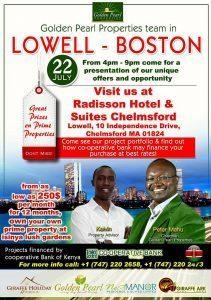 Golden Pearl Properties Ltd Boston-Lowell- Worcester Tour  Sunday July 16th 2017 @ PCEA NEEMA CHURCH LOWELL,MA 201 Coburn,Street, Lowell,MA 1pm to 2Pm
