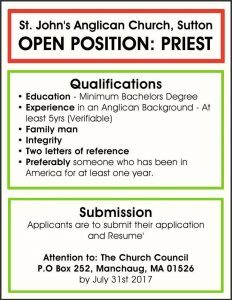 St John's Anglican Church,Sutton OPEN POSITION PRIEST Job Advert