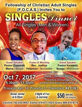 Singles Dinner All singles(Men & Women) October 7 20017 Host: (F.O.C.A.S)