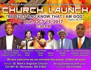 St Marks Anglican Community Church Church Launch Sun.Oct 15th 2017 @3Pm
