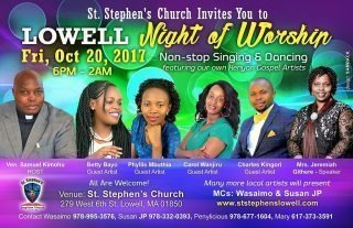 Lowell Night of Worship@ St Stephen's Church Lowell Friday October 20th 2017 6pm to 2Am