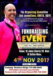Community Appeal:The Organizing |Sub-Committee,KWITU,KDTV Lucy Kariuki Fundraising Event Nov 4th 2017@3PM