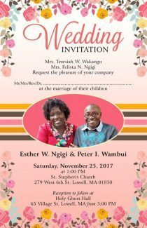 WEDDING INVITATION:ESTHER W NGIGI & PETER I WAMBUI SATURDAY NOVEMBER 25TH 2017