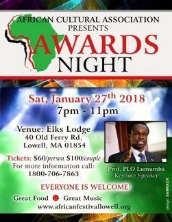 "AFRICA CULTURE ASSOCIATION PRESENTS SAT JAN 27TH 2017 ""AWARDS NIGHT"" WITH PROF.PLO LUMUMBA"