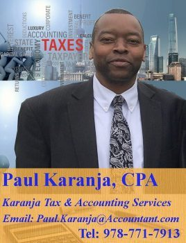 Karanja Tax & Accounting Services Paul Karanja CPA Call:978-771-7913 Email Paul.Karanja@Accountant.com