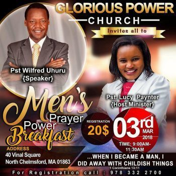 Men's Prayer Power Breakfast March 3rd 2018 @9Am to 11:30Am @ Glorious Power Church,40 Vinal Square North Chelmsford,Massachusetts