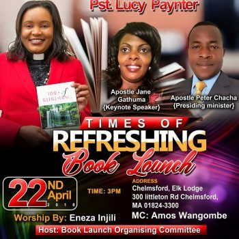 Times of Refreshing Book Launch Sunday April 22nd 2018 @3Pm @ Chelmsford,Elk Lodge 300 Littleton Rd Chelmsford,MA