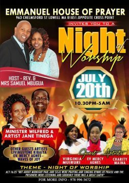 EMMANUEL HOUSE OF PRAYER: Night of Worship July 20th 2018 10:30Pm to 5Am @963 Chelmsford,St Lowell,Massachusetts