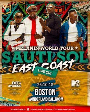 SAUTI SOL EAST COAST TOUR OCTOBER 26th 2018 Wonderland Ballroom Boston,Massachusetts  Q DIGITAL ENT PRESENT SAUTI SOL BAND LIVE IN BOSTON