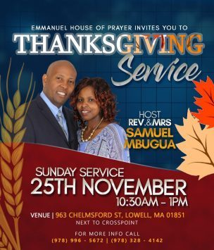 Thanksgiving Service Emmanuel House of Prayer Sunday Service November 25th 2018 10:30Am to 1PM