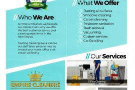 You name it we lean it;Empire Cleaners Call Today for a quote Lucia Miringu – CEO  Empire Cleaners  1 Union St. – Suite 2  Lawrence, MA 01840  Direct: (978) 655-5520  Lucia@empirecleaners.net