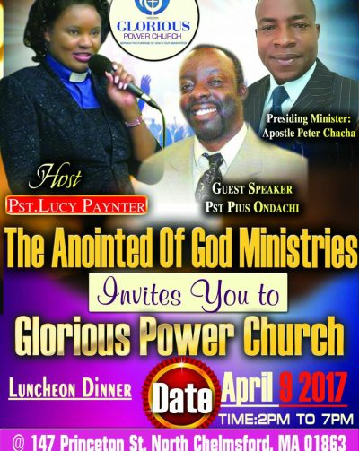 Invitation: Glorious Power Church Luncheon Dinner April 9 2017 @2P-7Pm.Host :Pastor Lucy Paynter