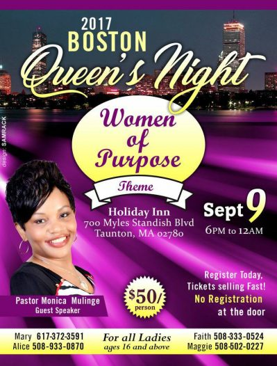 "2017 Boston Queen's Night ""Women of Purpose""  Sept 9 2017 6Pm to 12Am"