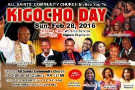 "Invitation: All Saints Community Church ""Kigocho Day"" Sun.Feb 28,2016 @10:30Am- 1Pm Worship Service & Kigocho Explosion 2Pm to 6Pm"