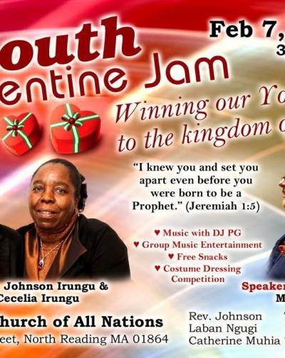 Invitation: Youth Valentines Jam,Feb.7th 2016 @3Pm-6Pm with Rev.Rachel M Fisher: Hosts :Rev.Johnson Irungu  &  Mrs Cecelia Irungu