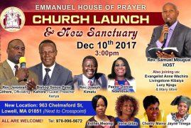 Church Launch & New Sanctuary :Emmanuel House of Prayer Dec.10 th 2017 Time 3:00pm