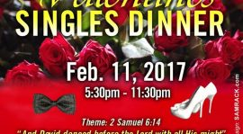 Fellowship of Christian Adult Singles(F.O.C.A.S) invites you to: Valentines SINGLES DINNER Feb 11,2017