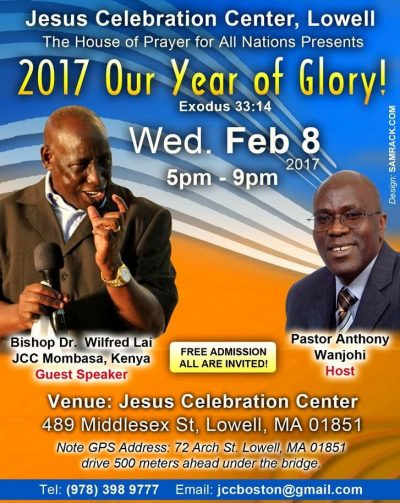 Invitation: J.C.C Lowell with Bishop Dr. Wilfred Lai J.C.C Mombasa Kenya  Wed Feb 8 2017 5Pm to 9Pm