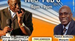 Invitation: J.C.C Lowell with Bishop Dr. Wilfred Lai J.C.C Mombasa Kenya  Wed Feb 8 2017 5Pm to 9Pm