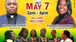 "St Stephen's Church Lowell Invites you to ""KIGOCHO Etereri Akindiriku"" May 7 2017 @ 10:30Am with Pst Zipporah Maina & 2PM Kigocho!"