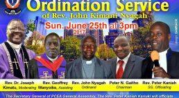 PCEA Imani Ordination Service Rev.John Kimani Nyagah June 25th 2017 @3PM