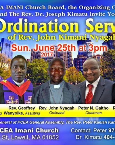 PCEA Imani Ordination Service Rev.John Kimani Nyagah June 25th 2017 @3PM