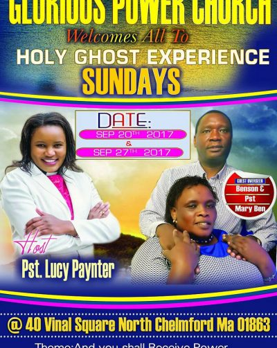 Glorious Power Church| Holy Ghost Experience Sun Sept 20 & 27 2017 Host: Lucy Payner