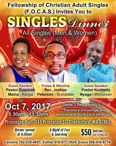 Singles Dinner All  singles(Men & Women)Host: (F.O.C.A.S)