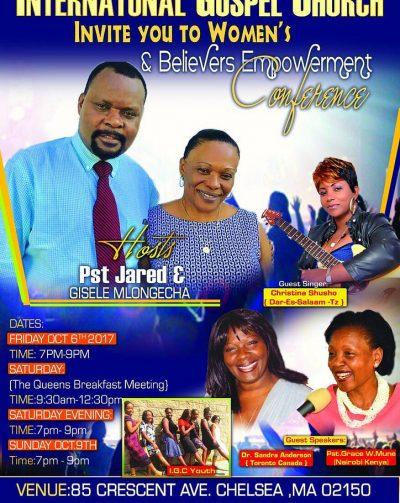 International Gospel Church:Women & Believers Empowerment Conference Oct 6-7-8,2017