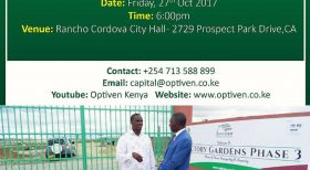 Optiven in Sacramento Fri October 27th  Presenting the Best Real Estate Investment Options in Kenya