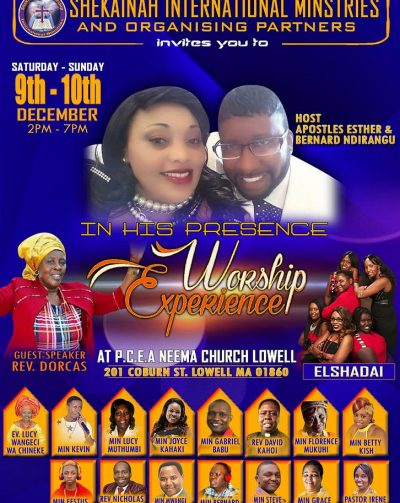 In his presence WORSHIP EXPERIENCE Dec 9th-10th 2017 2-7Pm:Shekainah International Ministries and Organizing Partners
