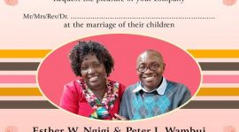 Wedding Invitation:Esther W Ngigi & Peter I Wambui Saturday November 25th 2017