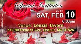 RED & BLACK :Special Valentines Dinner  Sat,Feb 10 2018 @6PM Venue: Lenzis Tavern Dracut,Massachusetts