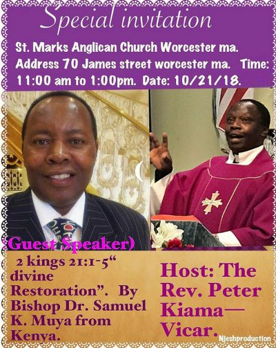 Special invitation: St Mark's Anglican Church,Worcester Massachusetts Oct 21 2018 @11Am to 1PM