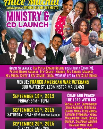 Alice Muchai Invites you to GITHIMA KIA MAI ME MUOYO Ministry & Cd Launch Sept,18,19 & 20th