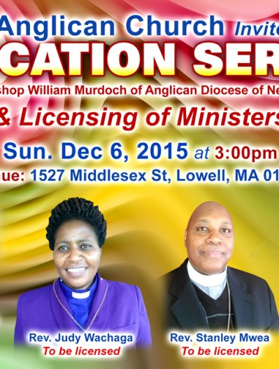 Invitation:Faith Anglican Church,Dedication Service & Licensing of ministers,Dec 6th 2015 3Pm
