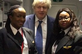 BRITISH FOREIGN SECRETARY BORIS JOHNSON FLIES KENYA AIRWAYS
